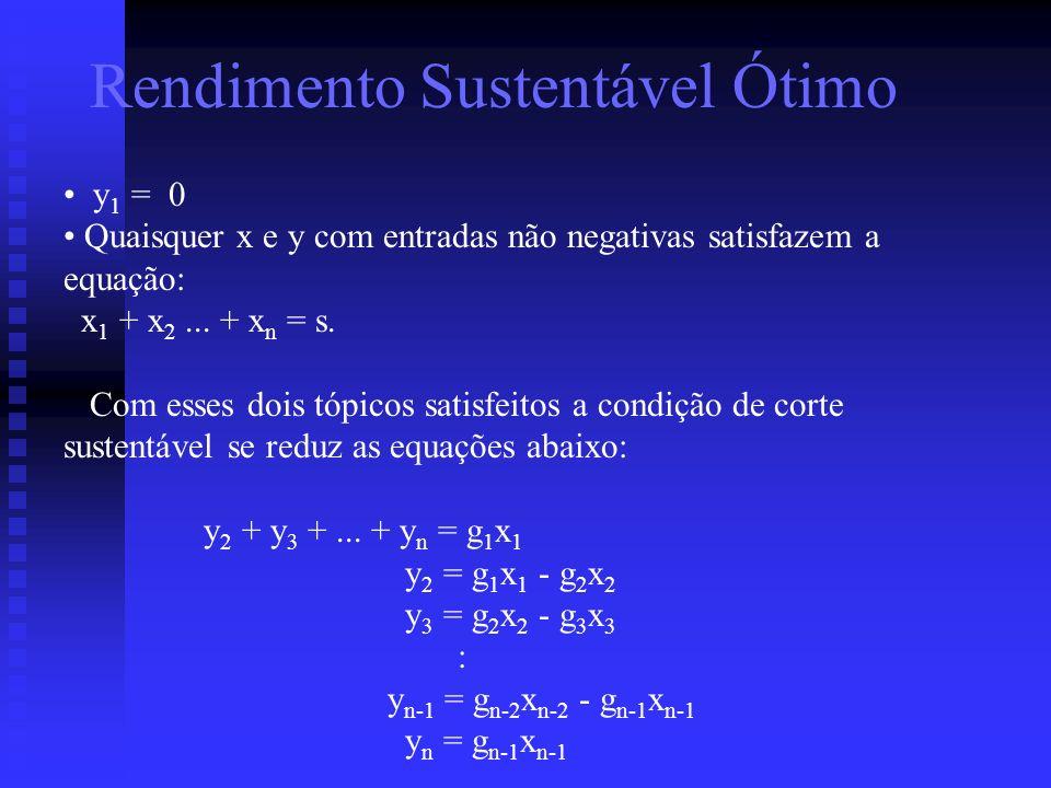 Rendimento Sustentável Ótimo y 1 = 0 Quaisquer x e y com entradas não negativas satisfazem a equação: x 1 + x 2... + x n = s. Com esses dois tópicos s