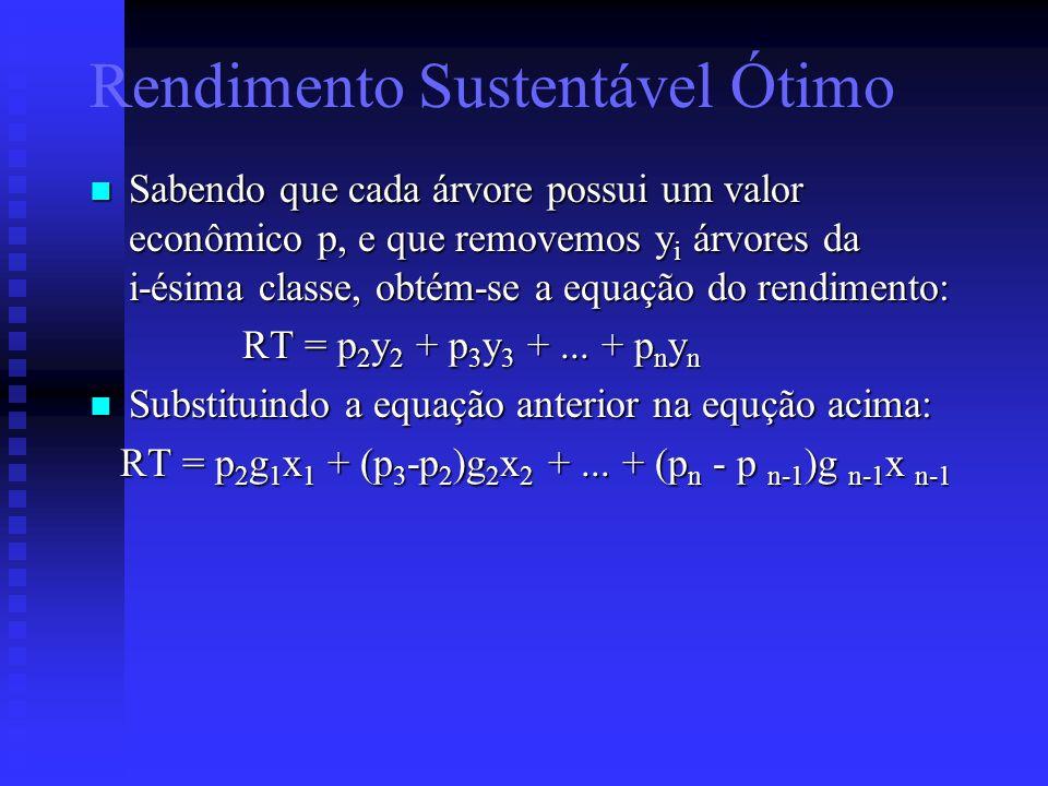 Sabendo que cada árvore possui um valor econômico p, e que removemos y i árvores da i-ésima classe, obtém-se a equação do rendimento: Sabendo que cada