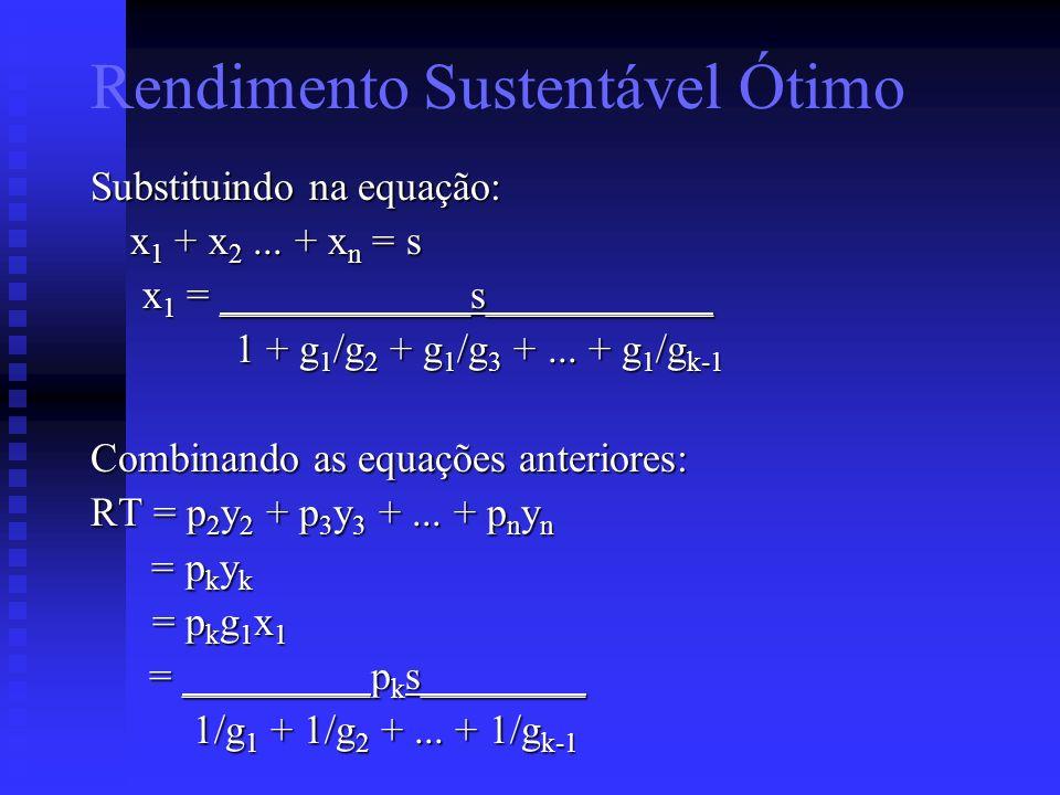 Substituindo na equação: x 1 + x 2... + x n = s x 1 = ____________s___________ x 1 = ____________s___________ 1 + g 1 /g 2 + g 1 /g 3 +... + g 1 /g k-