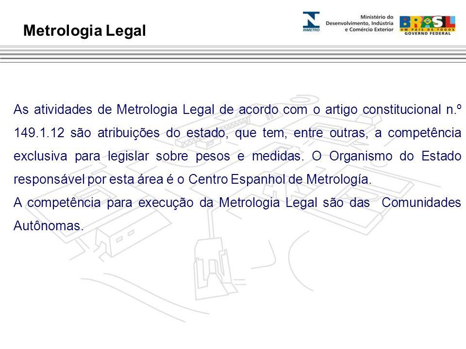 As atividades de Metrologia Legal de acordo com o artigo constitucional n.º 149.1.12 são atribuições do estado, que tem, entre outras, a competência e