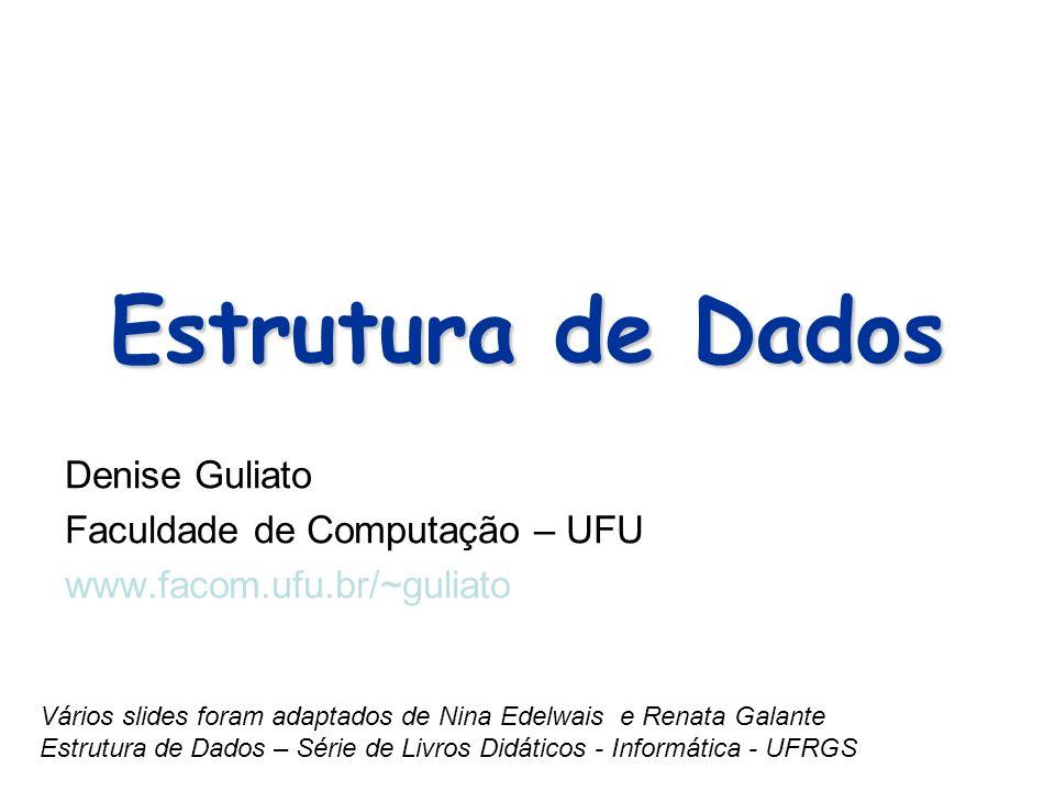 Estrutura de Dados Denise Guliato Faculdade de Computação – UFU www.facom.ufu.br/~guliato Vários slides foram adaptados de Nina Edelwais e Renata Gala