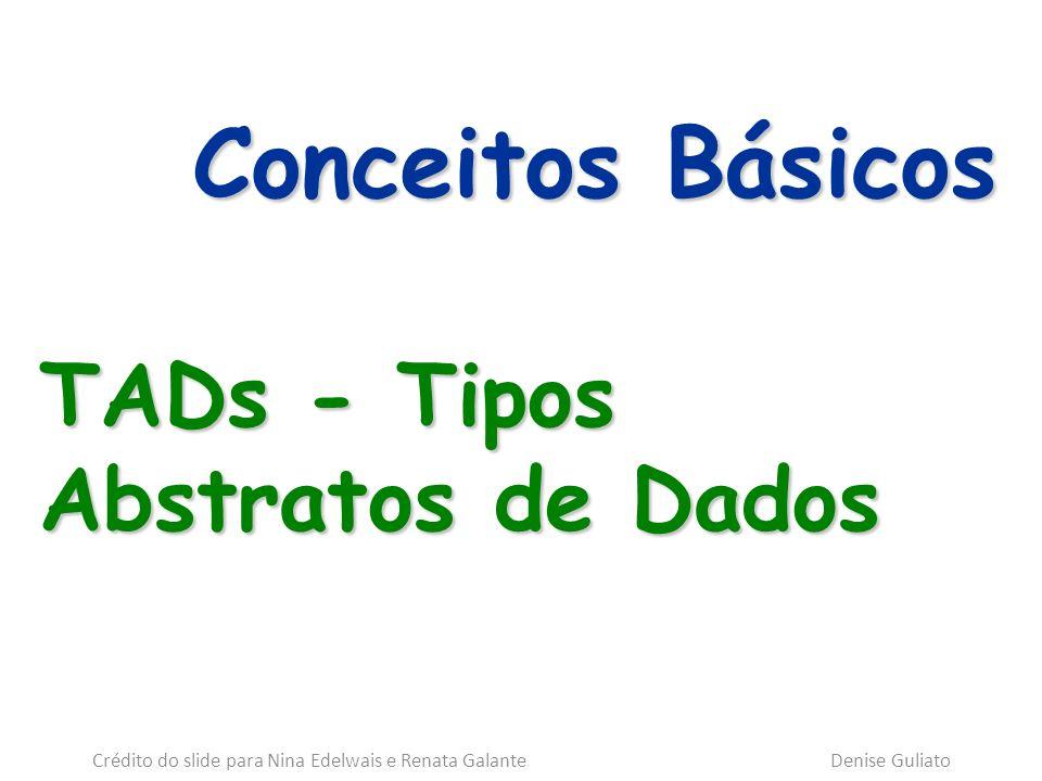 Conceitos Básicos TADs - Tipos Abstratos de Dados Crédito do slide para Nina Edelwais e Renata Galante Denise Guliato