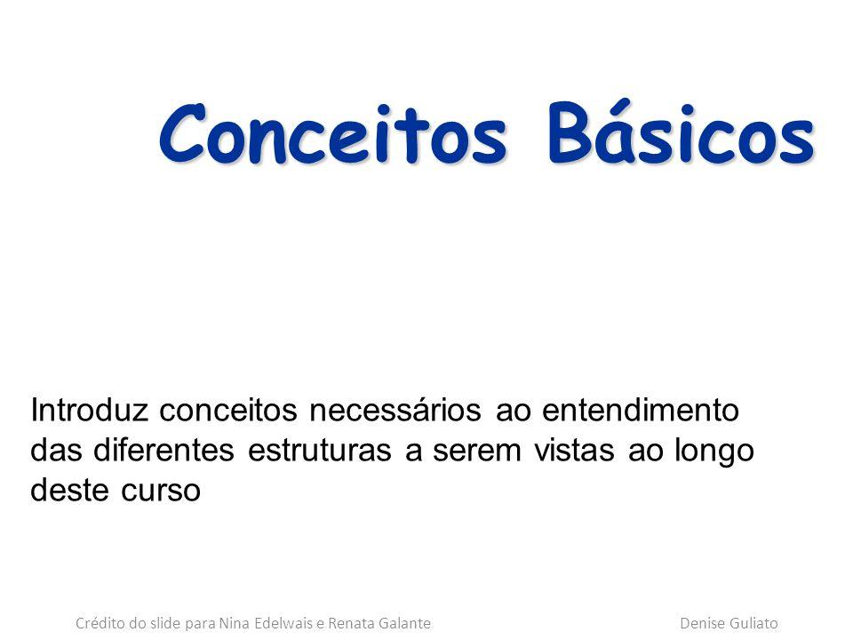 Conceitos Básicos Introduz conceitos necessários ao entendimento das diferentes estruturas a serem vistas ao longo deste curso Crédito do slide para N