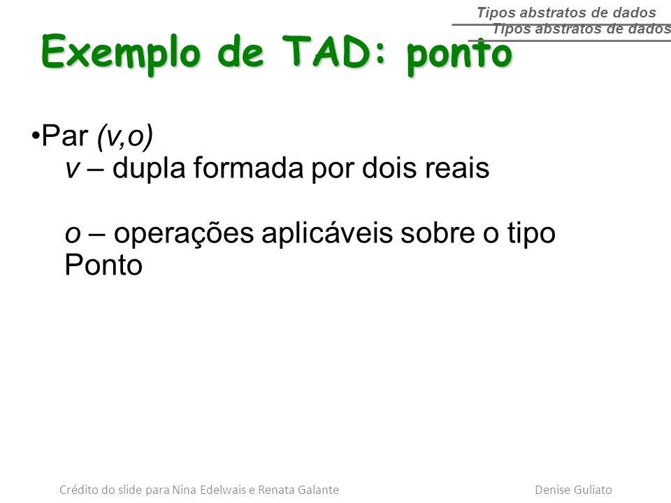 Exemplo de TAD: ponto Par (v,o) v – dupla formada por dois reais o – operações aplicáveis sobre o tipo Ponto Tipos abstratos de dados Crédito do slide