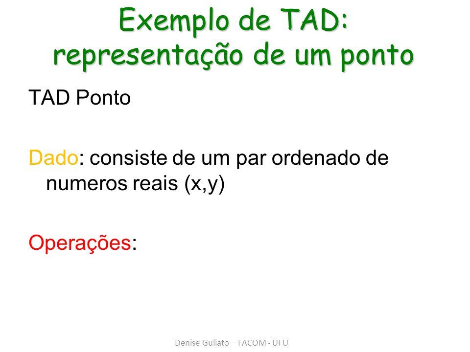 Exemplo de TAD: representação de um ponto TAD Ponto Dado: consiste de um par ordenado de numeros reais (x,y) Operações: Denise Guliato – FACOM - UFU