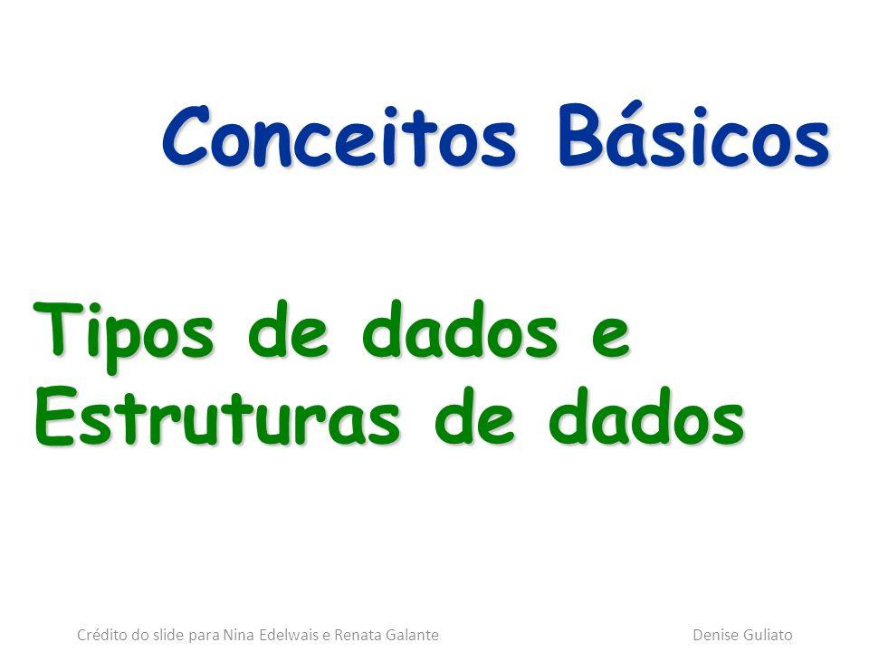 Conceitos Básicos Tipos de dados e Estruturas de dados Crédito do slide para Nina Edelwais e Renata Galante Denise Guliato