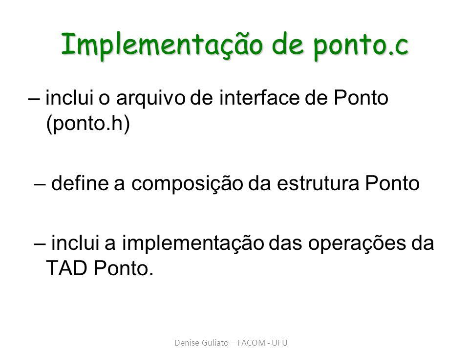 Implementação de ponto.c – inclui o arquivo de interface de Ponto (ponto.h) – define a composição da estrutura Ponto – inclui a implementação das oper
