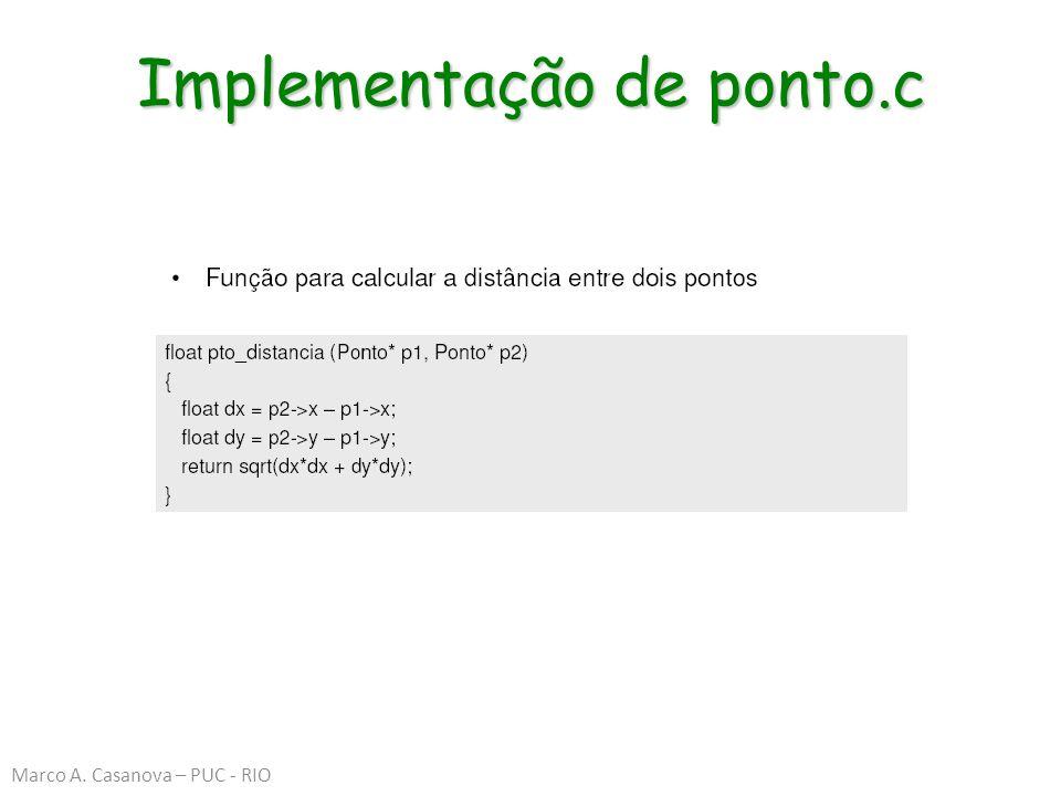 Implementação de ponto.c Marco A. Casanova – PUC - RIO