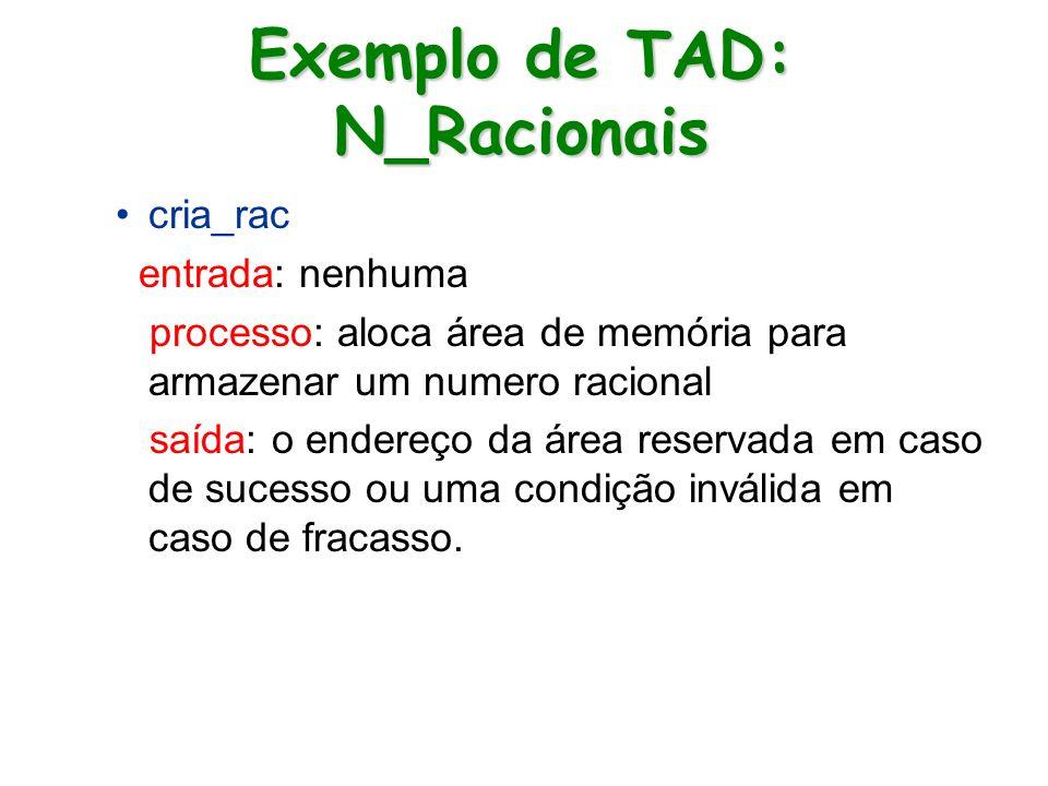 Exemplo de TAD: N_Racionais cria_rac entrada: nenhuma processo: aloca área de memória para armazenar um numero racional saída: o endereço da área rese