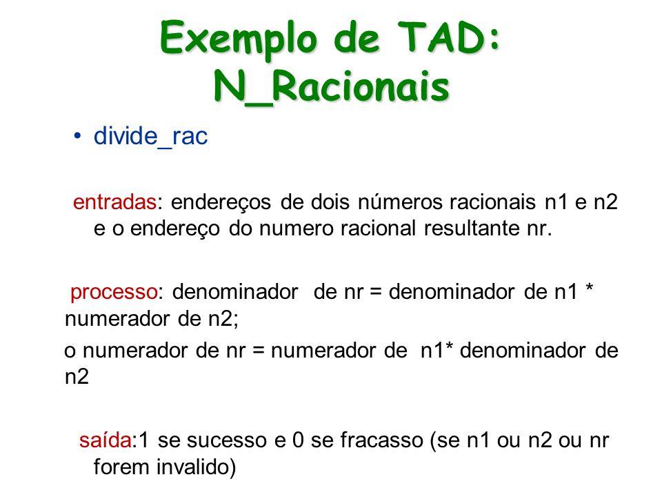 Exemplo de TAD: N_Racionais divide_rac entradas: endereços de dois números racionais n1 e n2 e o endereço do numero racional resultante nr. processo: