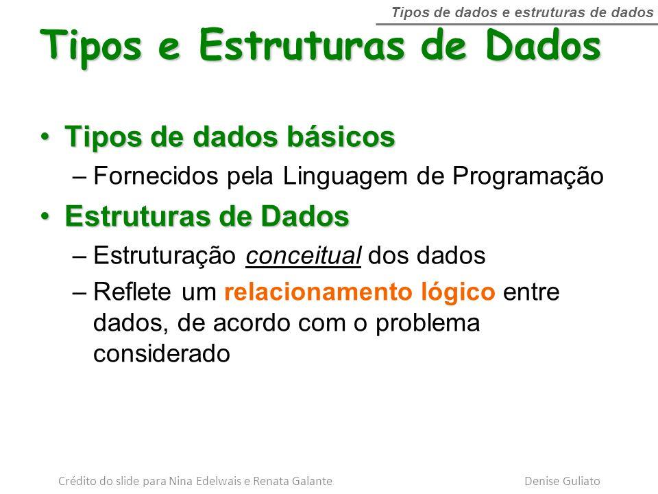 Tipos de dados básicosTipos de dados básicos –Fornecidos pela Linguagem de Programação Estruturas de DadosEstruturas de Dados –Estruturação conceitual