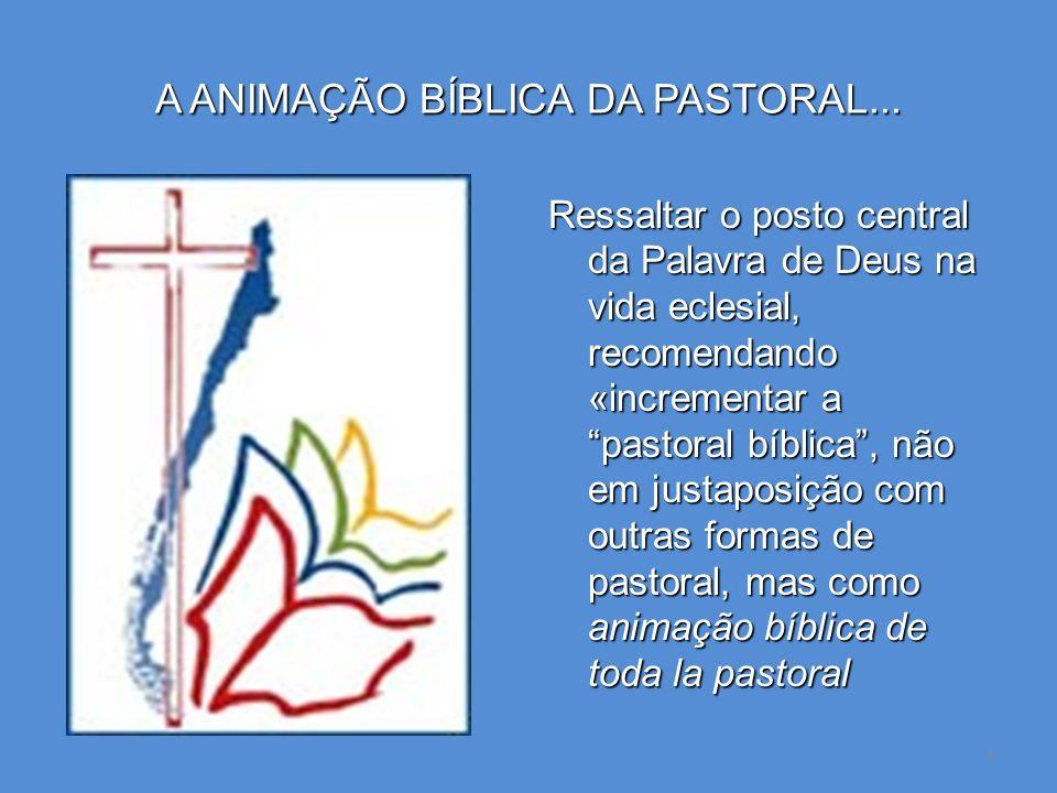 3 A ANIMAÇÃO BÍBLICA DA PASTORAL... Ressaltar o posto central da Palavra de Deus na vida eclesial, recomendando «incrementar a pastoral bíblica, não e