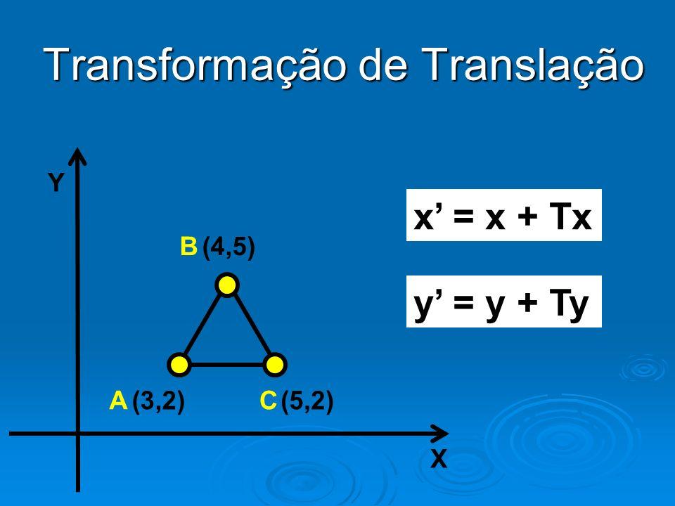 Transformação de Translação Y X (4,5) (3,2)(5,2) x = x + Tx y = y + Ty B A C
