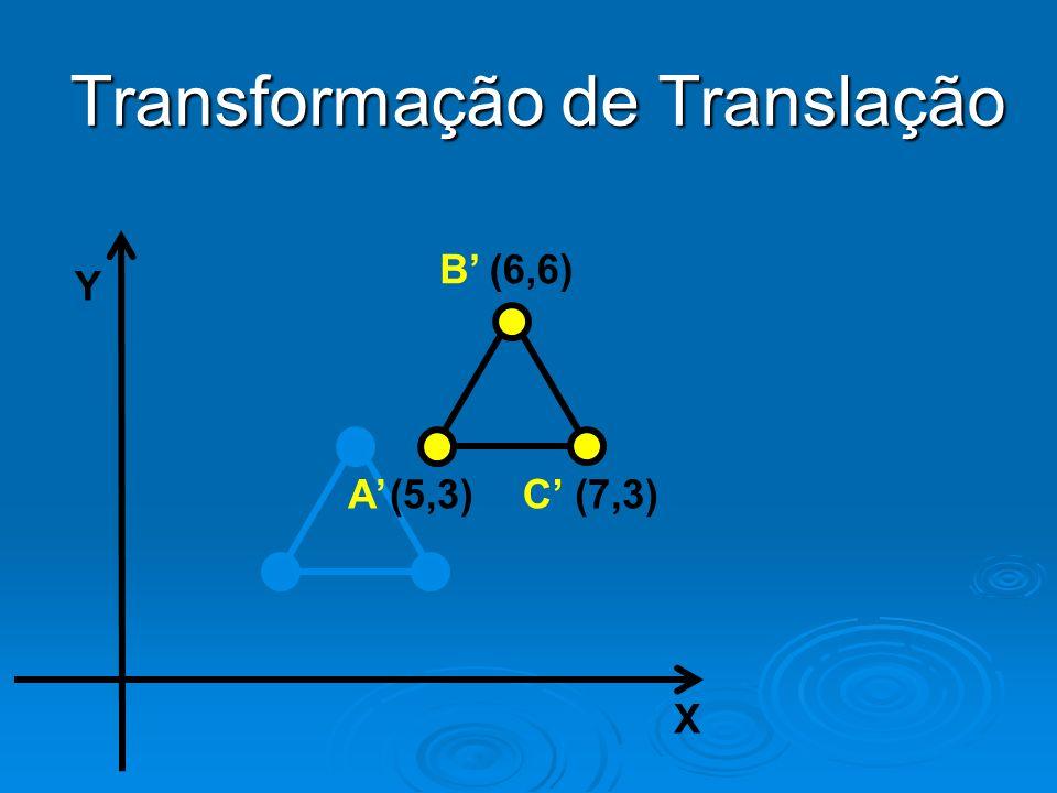 Y X (6,6) (5,3)(7,3) B AC Transformação de Translação