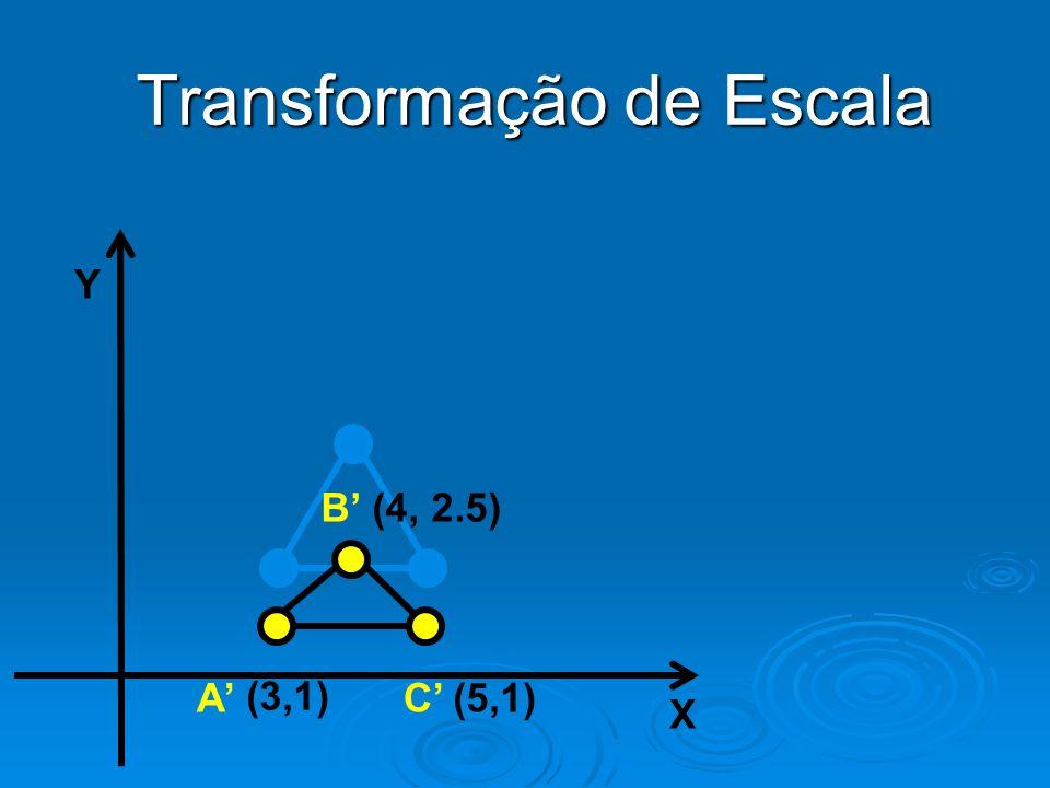 Y X (4, 2.5) (3,1) (5,1) B AC Transformação de Escala