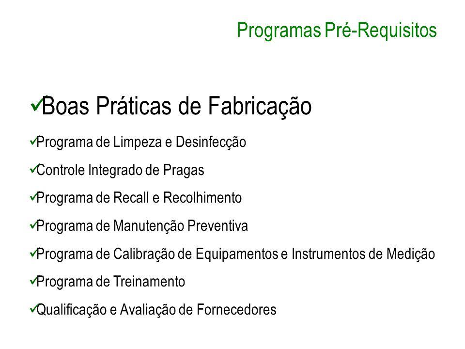 Programas Pré-Requisitos Boas Práticas de Fabricação Programa de Limpeza e Desinfecção Controle Integrado de Pragas Programa de Recall e Recolhimento