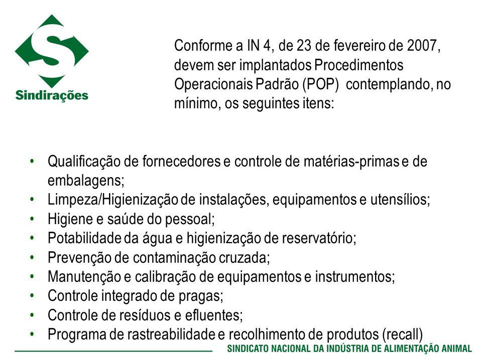 Conforme a IN 4, de 23 de fevereiro de 2007, devem ser implantados Procedimentos Operacionais Padrão (POP) contemplando, no mínimo, os seguintes itens