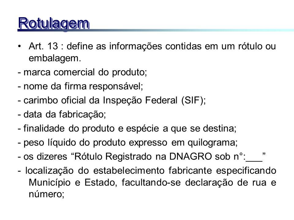 RotulagemRotulagem Art. 13 : define as informações contidas em um rótulo ou embalagem. - marca comercial do produto; - nome da firma responsável; - ca