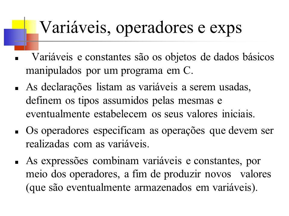 Variáveis, operadores e exps Variáveis e constantes são os objetos de dados básicos manipulados por um programa em C. As declarações listam as variáve