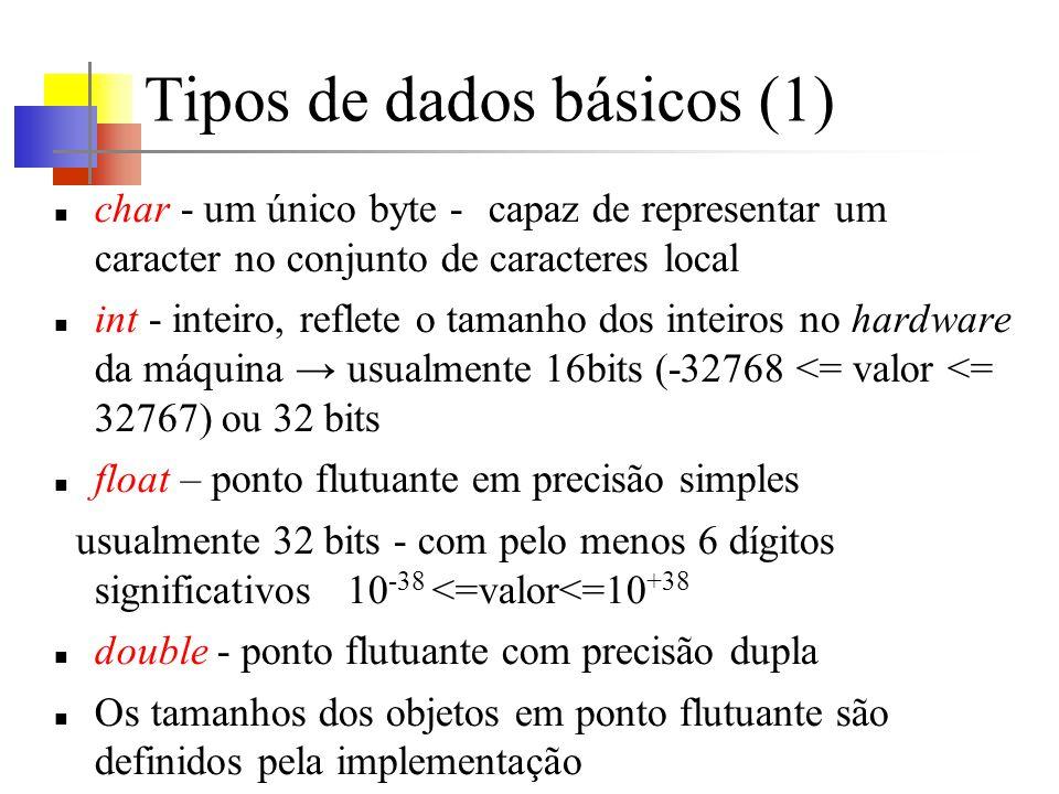 Tipos de dados básicos (1) char - um único byte - capaz de representar um caracter no conjunto de caracteres local int - inteiro, reflete o tamanho do