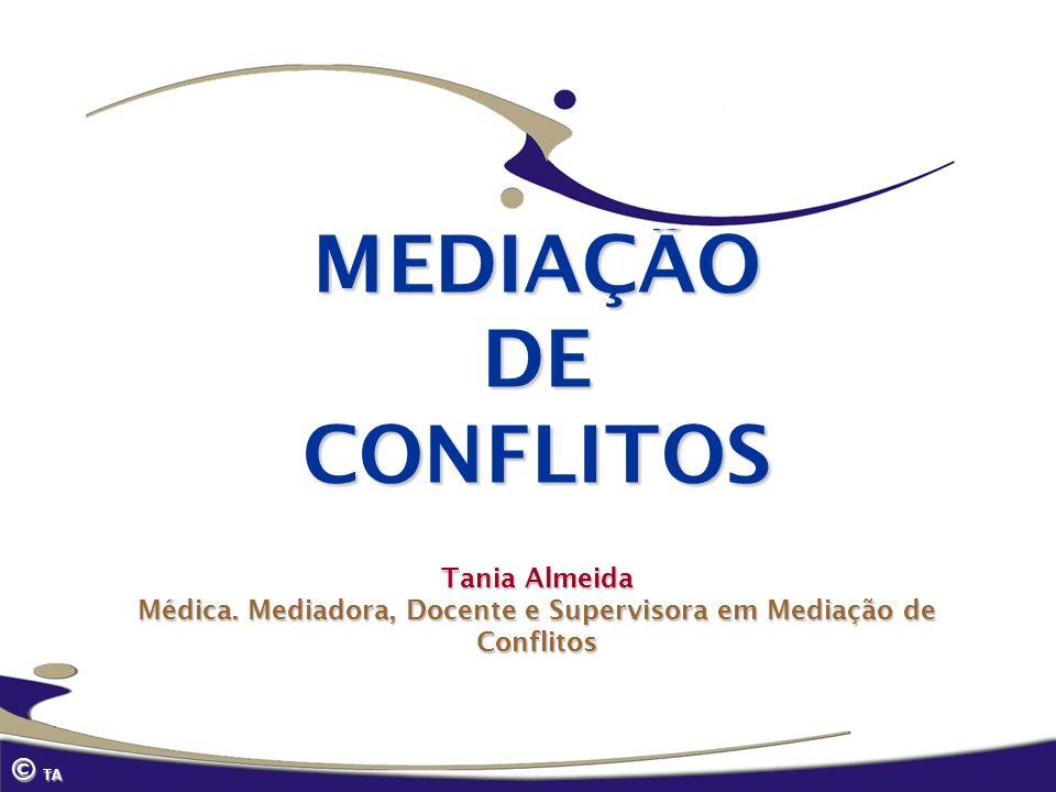 MEDIAÇÃO DE CONFLITOS Tania Almeida Médica. Mediadora, Docente e Supervisora em Mediação de Conflitos © TA