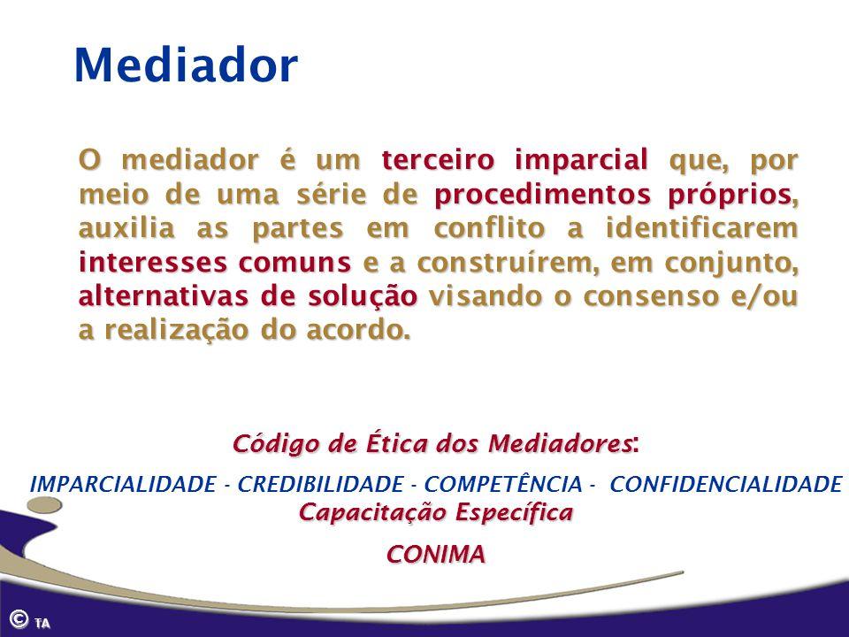 Mediador O mediador é um terceiro imparcial que, por meio de uma série de procedimentos próprios, auxilia as partes em conflito a identificarem intere