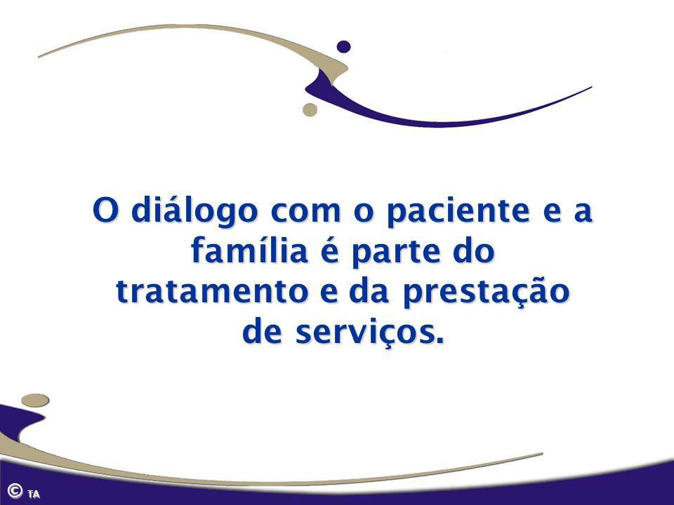 © TA O diálogo com o paciente e a família é parte do tratamento e da prestação de serviços.