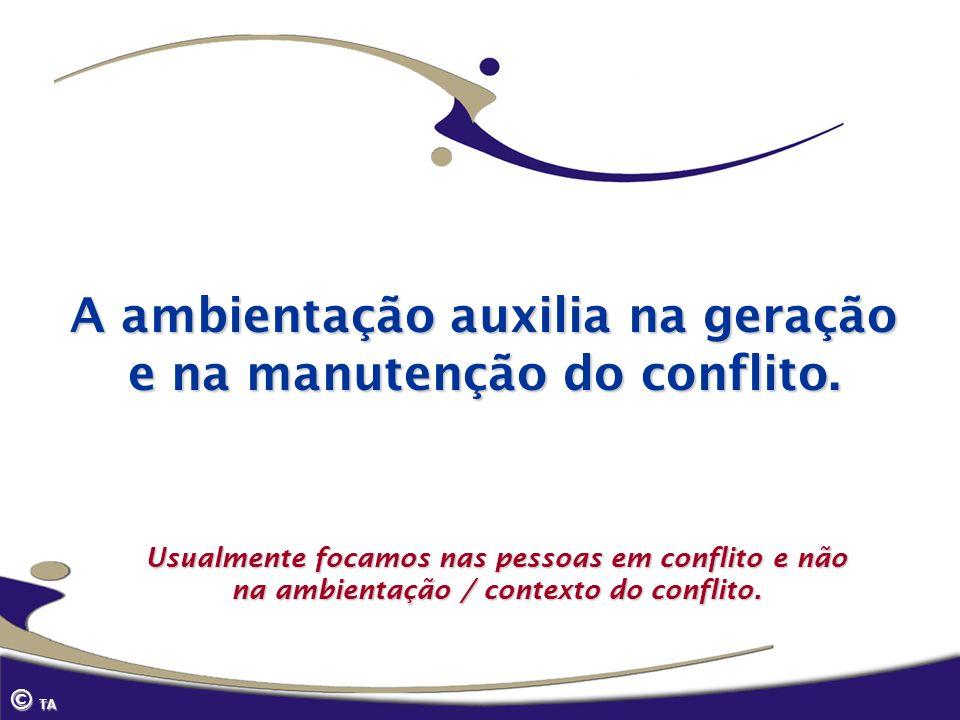 © TA A ambientação auxilia na geração e na manutenção do conflito. Usualmente focamos nas pessoas em conflito e não na ambientação / contexto do confl