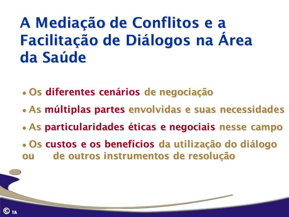 © TA A Mediação de Conflitos e a Facilitação de Diálogos na Área da Saúde Os diferentes cenários de negociação Os diferentes cenários de negociação As