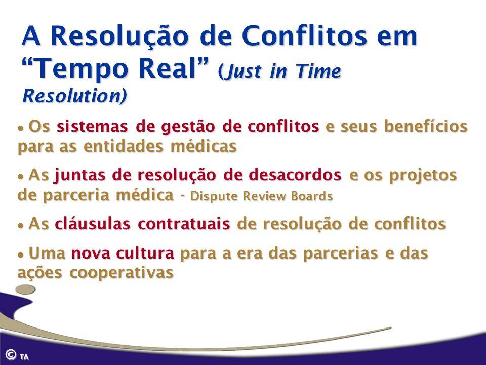 © TA A Resolução de Conflitos em Tempo Real (Just in Time Resolution) Os sistemas de gestão de conflitos e seus benefícios para as entidades médicas O