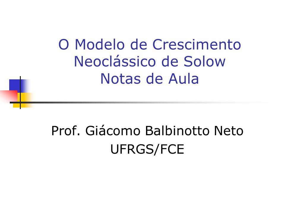 O Modelo de Crescimento Neoclássico de Solow Notas de Aula Prof. Giácomo Balbinotto Neto UFRGS/FCE