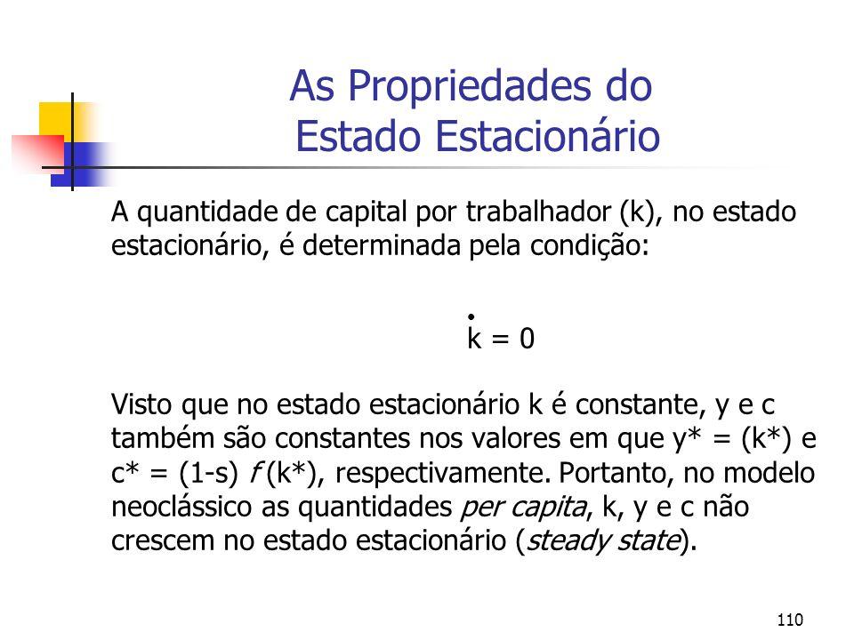 111 As Propriedades do Estado Estacionário Visto que no estado estacionário (steady state) y, c e k não crescem, temos que os níveis das variáveis K, Y e C crescem no estado estacionário a taxa n (taxa de crescimento populacional).