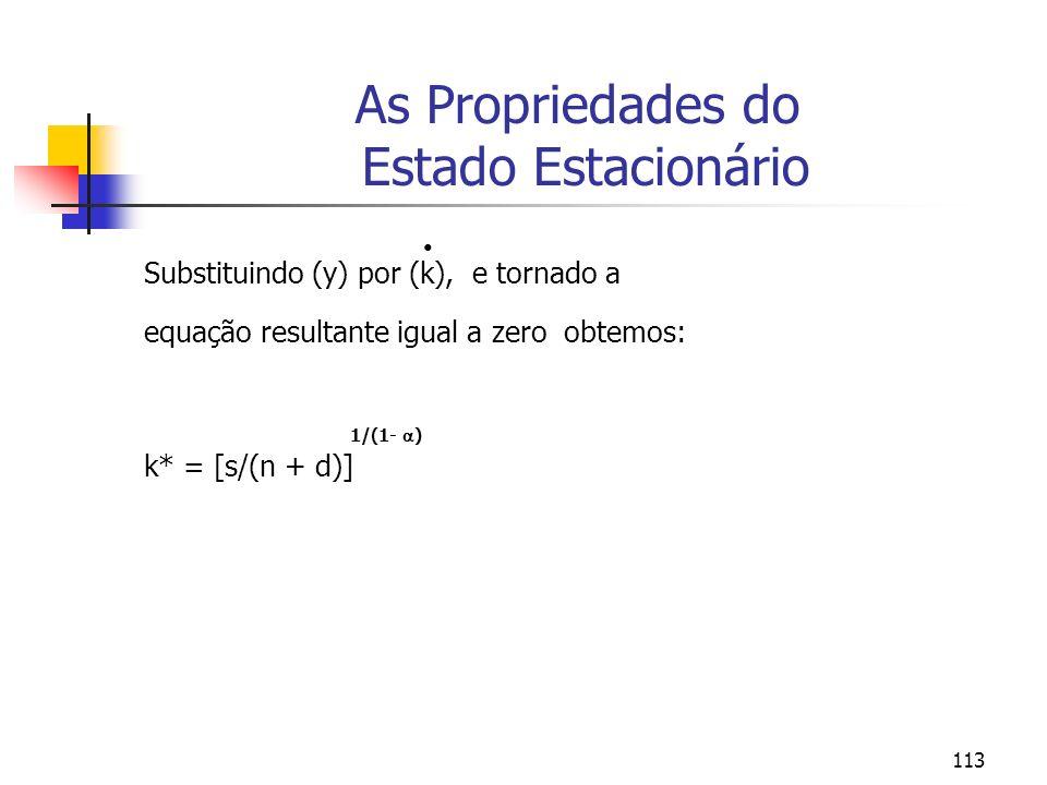 113 As Propriedades do Estado Estacionário Substituindo (y) por (k), e tornado a equação resultante igual a zero obtemos: 1/(1- ) k* = [s/(n + d)]