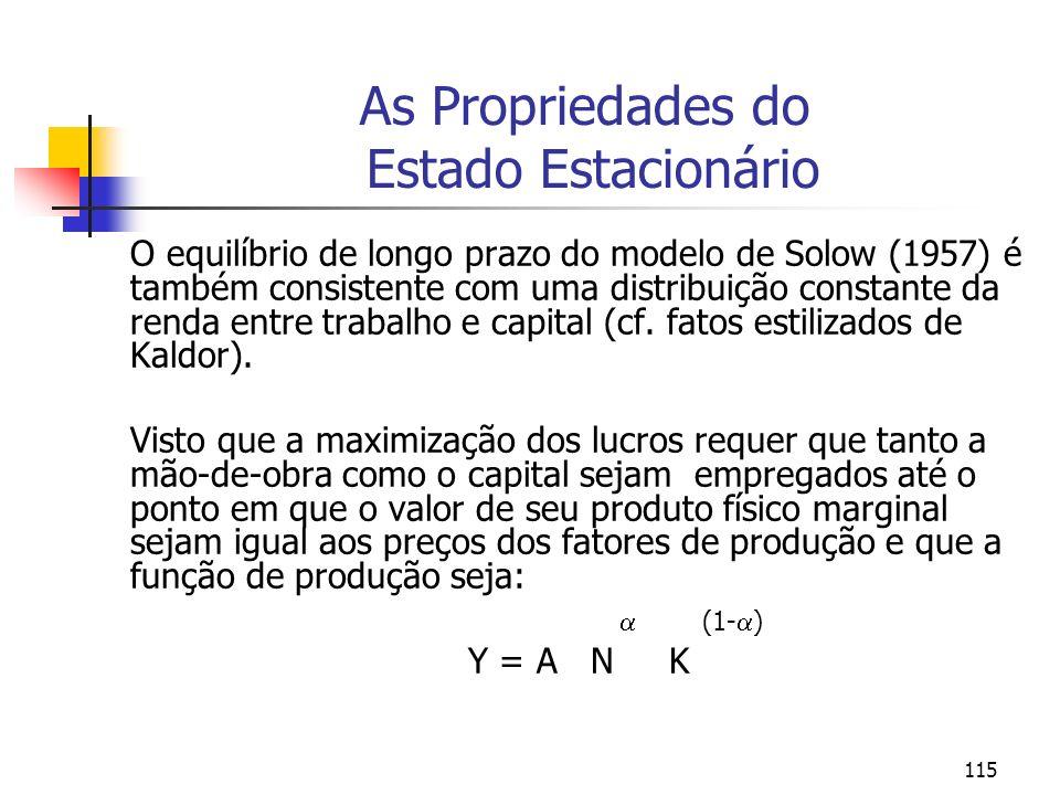 115 As Propriedades do Estado Estacionário O equilíbrio de longo prazo do modelo de Solow (1957) é também consistente com uma distribuição constante d