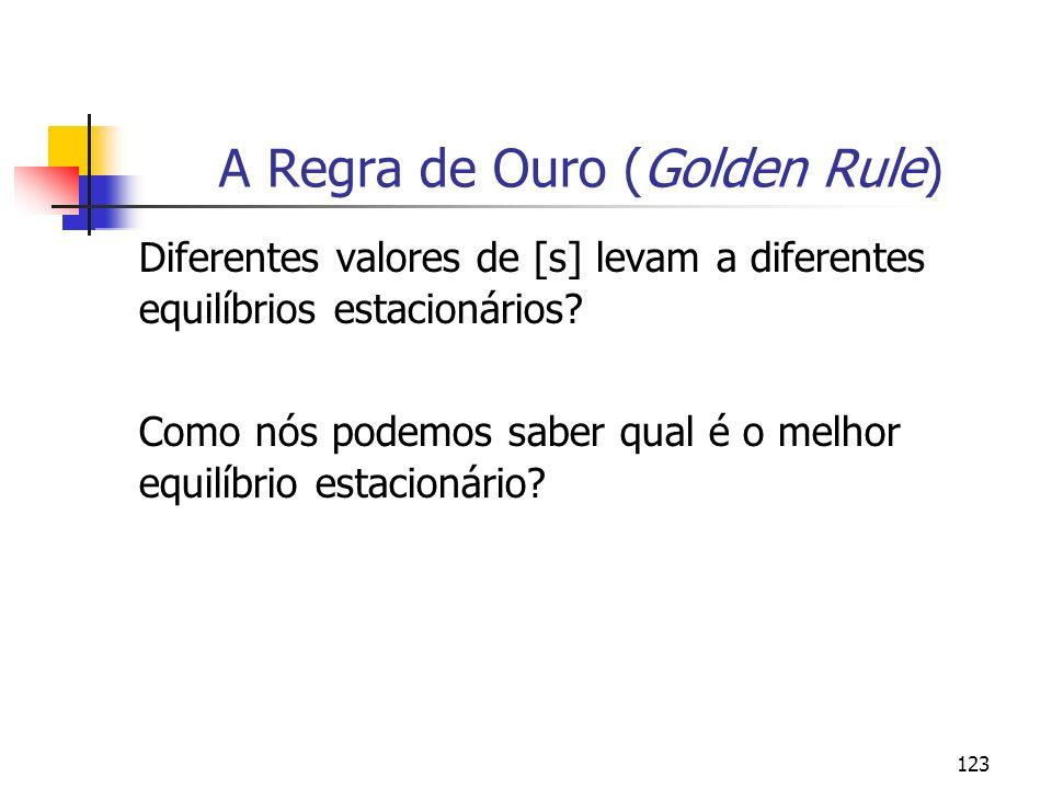 124 A Regra de Ouro (Golden Rule) Para uma dada função de produção agregada e para dados valores de n e d, há um único valor de k* > 0, para cada valor de s.