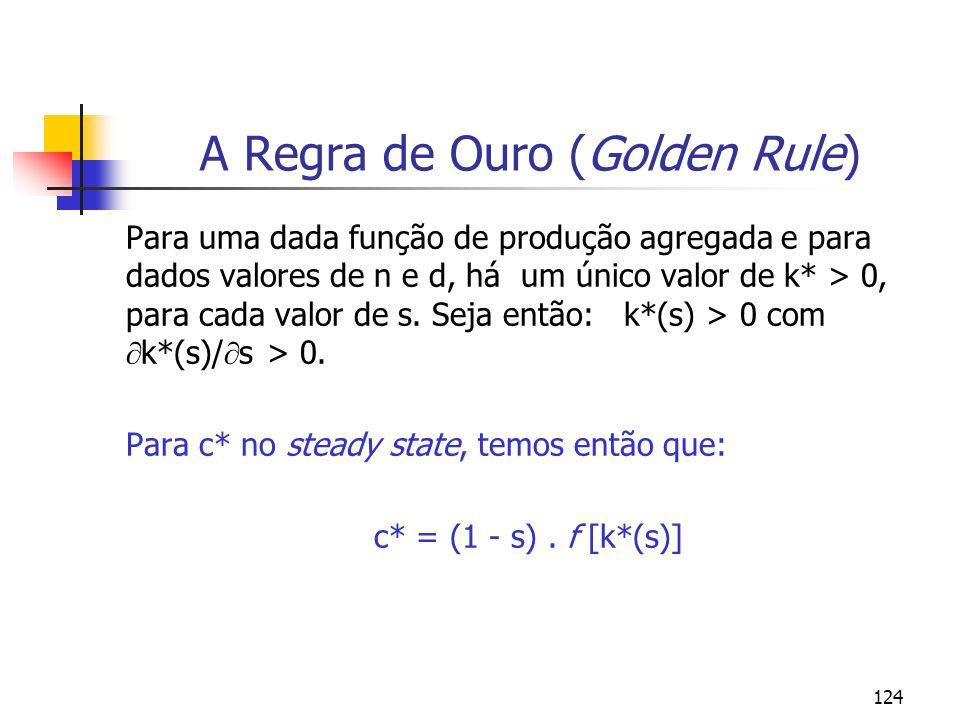 124 A Regra de Ouro (Golden Rule) Para uma dada função de produção agregada e para dados valores de n e d, há um único valor de k* > 0, para cada valo