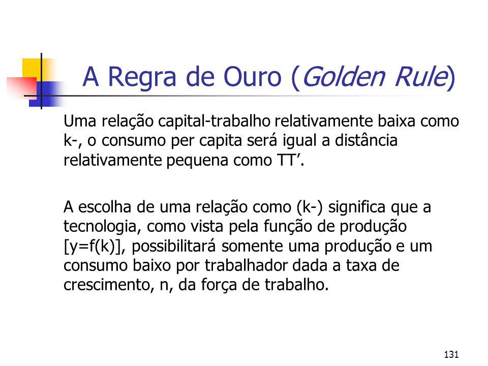 131 A Regra de Ouro (Golden Rule) Uma relação capital-trabalho relativamente baixa como k-, o consumo per capita será igual a distância relativamente