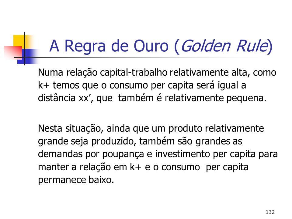 133 A Regra de Ouro (Golden Rule) Se a relação capital-trabalho for como k++ temos que todo o produto produzido (e mais) será requerido para manter a relação capital- trabalho constante e não haverá simplesmente produto disponível para consumo.