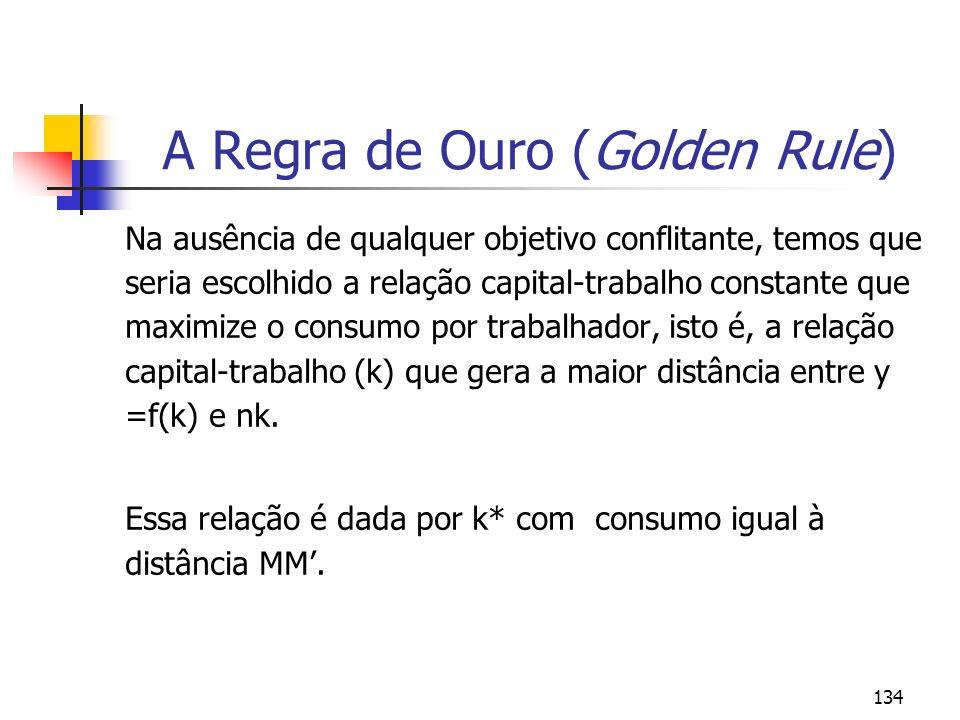 134 A Regra de Ouro (Golden Rule) Na ausência de qualquer objetivo conflitante, temos que seria escolhido a relação capital-trabalho constante que max