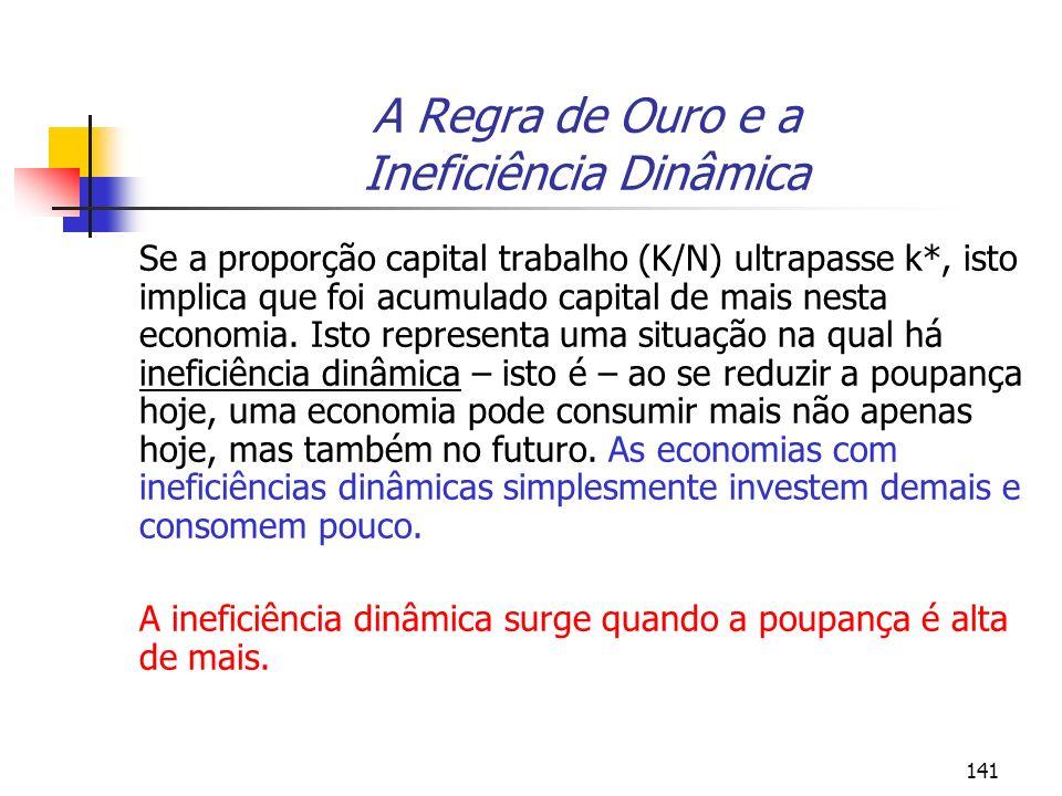 141 A Regra de Ouro e a Ineficiência Dinâmica Se a proporção capital trabalho (K/N) ultrapasse k*, isto implica que foi acumulado capital de mais nest