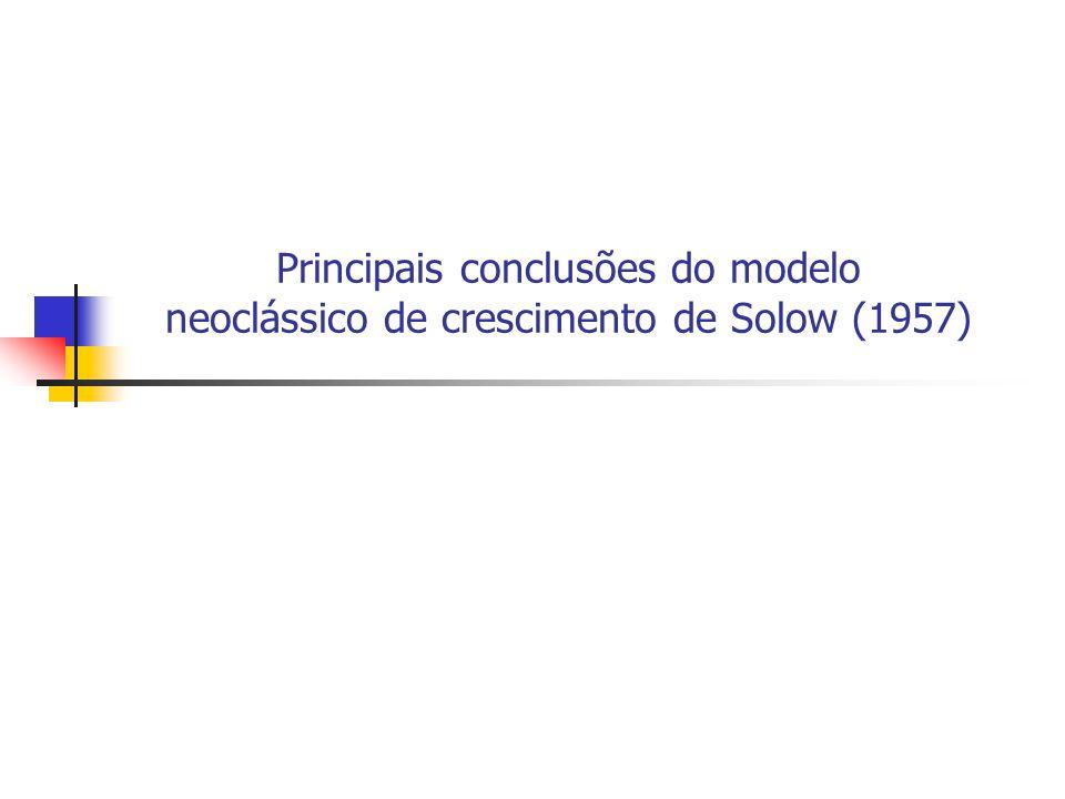 148 Principais conclusões do modelo neoclássico de crescimento de Solow (1957) 1) a taxa de crescimento de longo prazo do estoque de capital e da renda nacional é a taxa de crescimento da força de trabalho que, por hipótese, é uma constante exógena n; 2) a economia invariavelmente tende para uma tendência de crescimento balanceado, qualquer que seja a relação capital-trabalho (k) inicial;