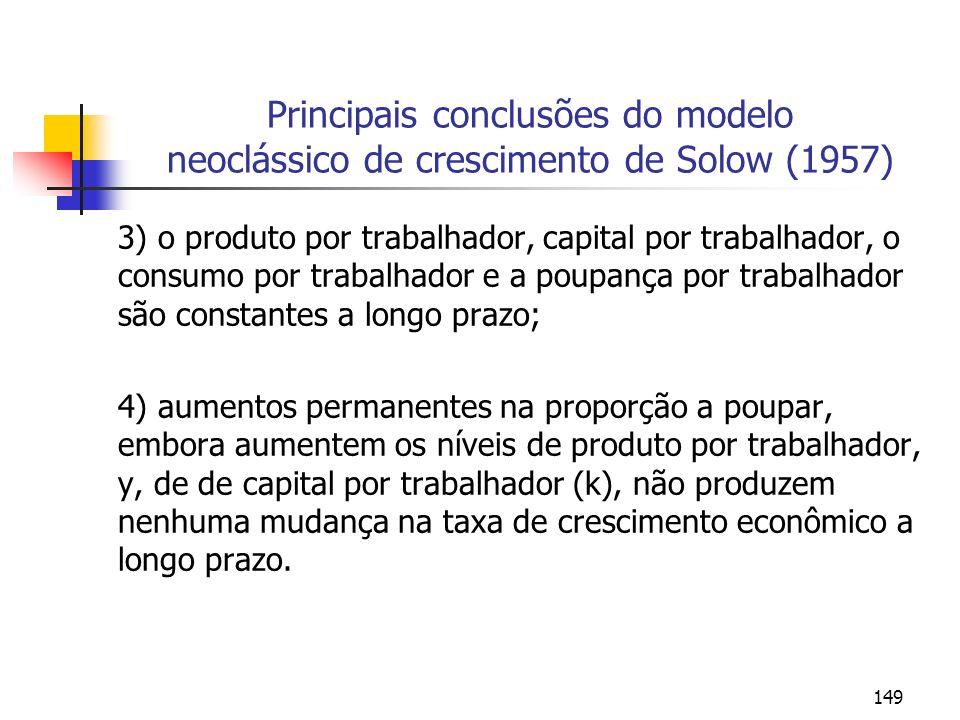 149 Principais conclusões do modelo neoclássico de crescimento de Solow (1957) 3) o produto por trabalhador, capital por trabalhador, o consumo por tr