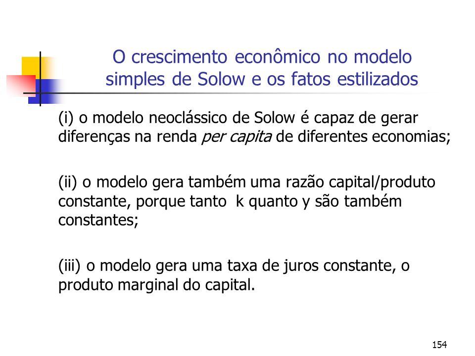 154 O crescimento econômico no modelo simples de Solow e os fatos estilizados (i) o modelo neoclássico de Solow é capaz de gerar diferenças na renda p