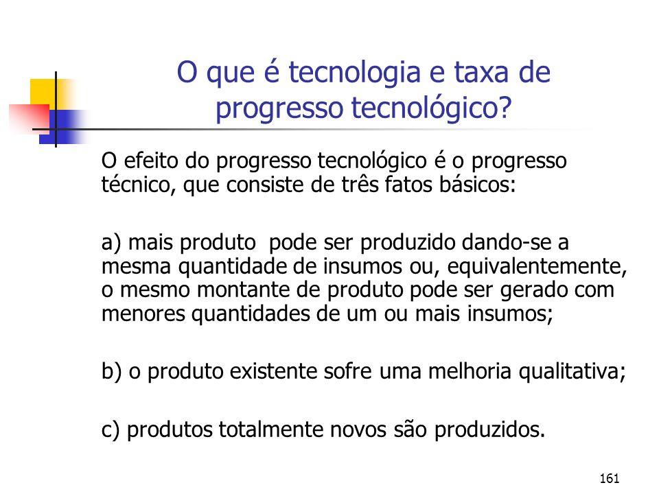 161 O que é tecnologia e taxa de progresso tecnológico? O efeito do progresso tecnológico é o progresso técnico, que consiste de três fatos básicos: a