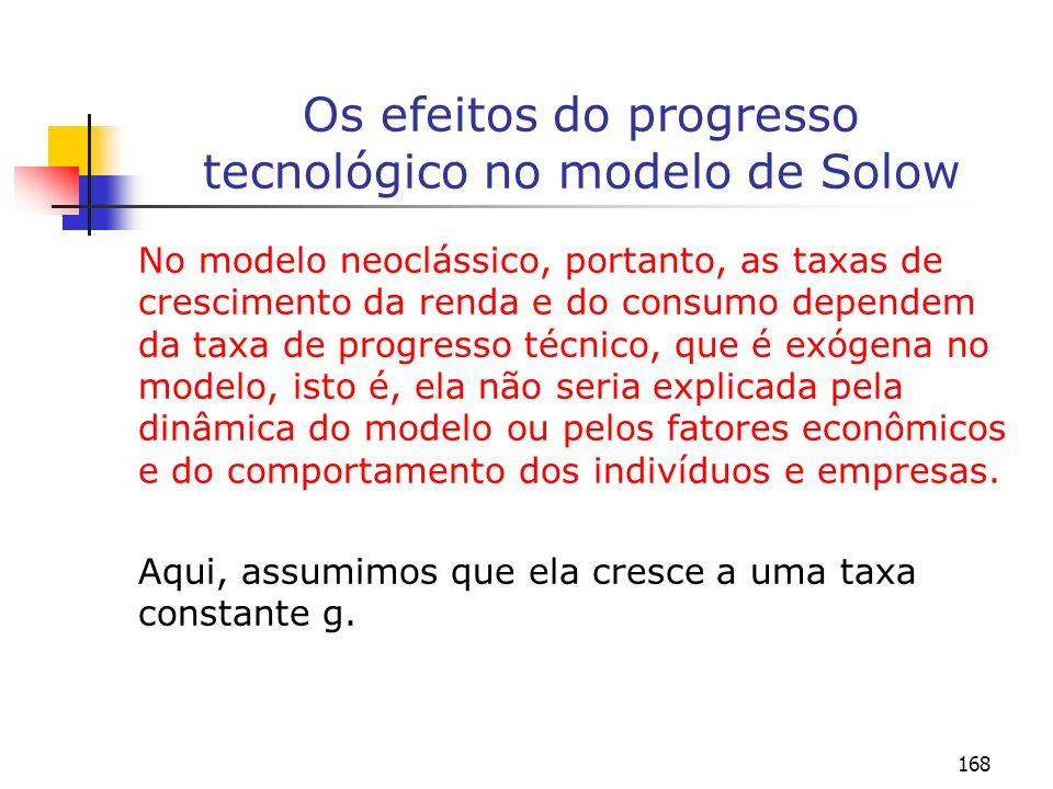 169 Os efeitos do progresso tecnológico no modelo de Solow gt (A/A) = g A = A o e g – é um parâmetro que representa a taxa de crescimento da tecnologia e que é considerado no modelo como sendo exógeno.