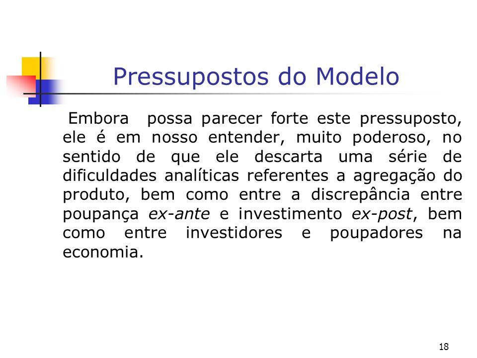 19 Pressupostos do Modelo Os problemas referentes a agregação não surgem porque é assumido por hipótese que há somente um bem que é produzido nesta economia.
