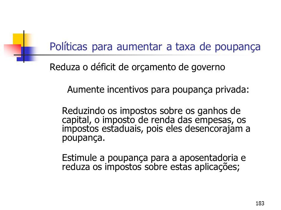 183 Políticas para aumentar a taxa de poupança Reduza o déficit de orçamento de governo Aumente incentivos para poupança privada: Reduzindo os imposto