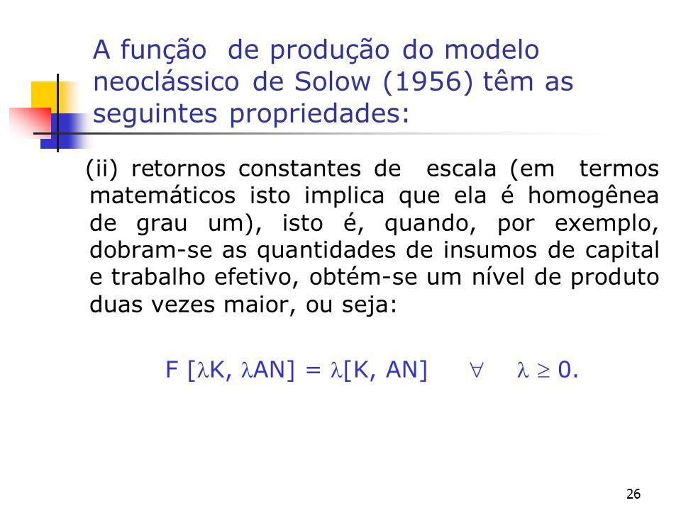 27 A função de produção do modelo neoclássico de Solow (1956) têm as seguintes propriedades: (iii) o produto marginal do capital e do trabalho tende ao infinito quando o capital ou o trabalho tende a zero ou o capital ou o trabalho tende ao infinito.