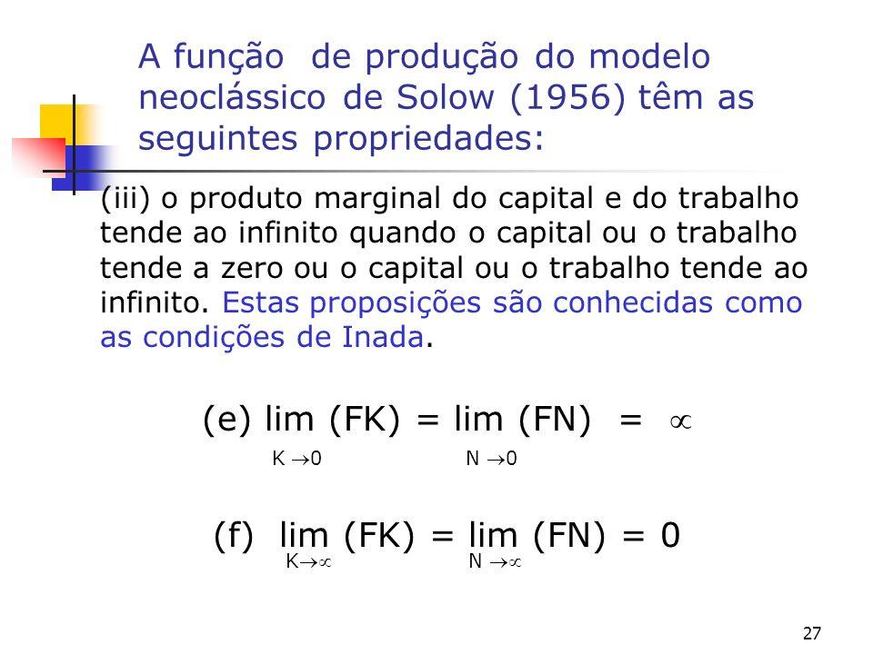 27 A função de produção do modelo neoclássico de Solow (1956) têm as seguintes propriedades: (iii) o produto marginal do capital e do trabalho tende a
