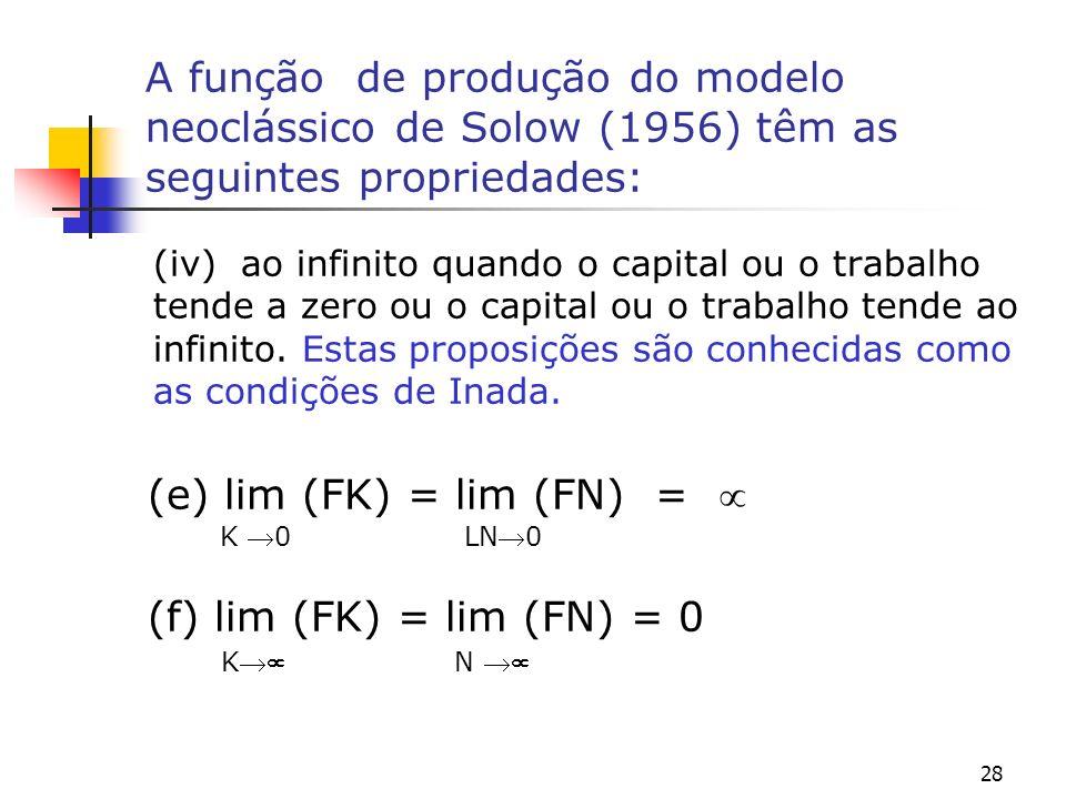 28 A função de produção do modelo neoclássico de Solow (1956) têm as seguintes propriedades: (iv) ao infinito quando o capital ou o trabalho tende a z